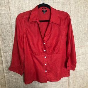 Talbots Linen Top 12P Petite 3/4 Sleeve Shirt Red